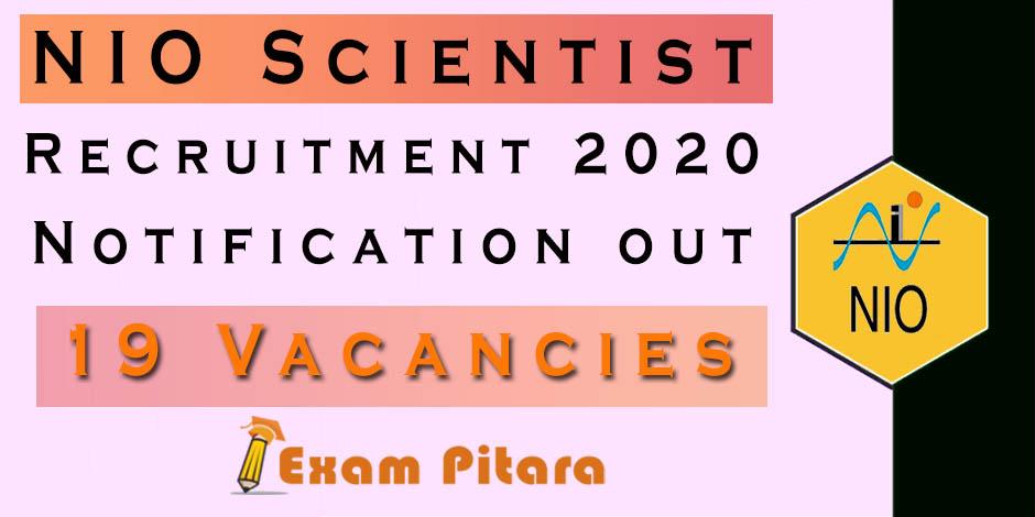 NIO Scientist Recruitment 2020