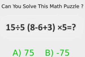 Maths Bodmas Rule Puzzle